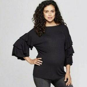 Isabel Maternity Ruffle Flounce Sleeve Top Black